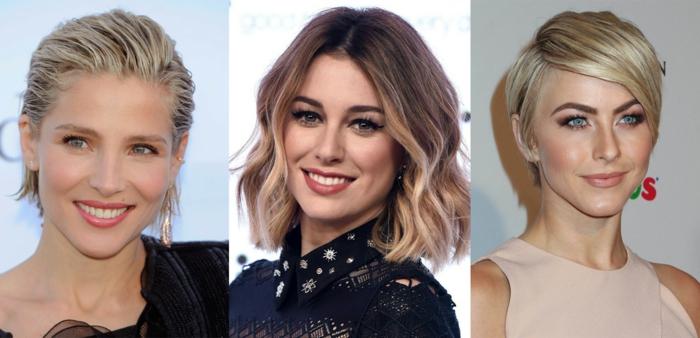 Come fare i capelli mossi corti, tre donne famose con capelli biondi, tagli caschetto effetto bagnato