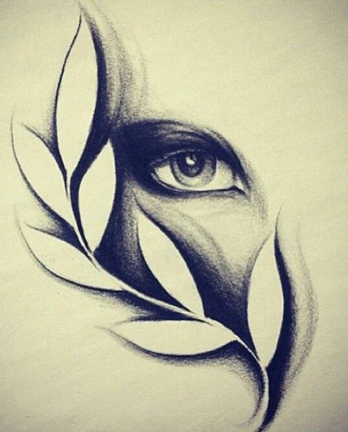 Ritratti a matita, disegno di foglie, l'occhio di una donna