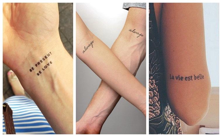 Tre proposte per tatuaggi scritte, tattoo sul polso della mano, scritta always in inglese