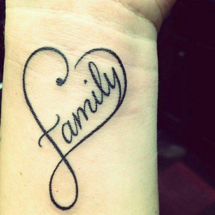 Simbolo infinito tattoo, cuore con scritta, famiglia in inglese, polso della mano