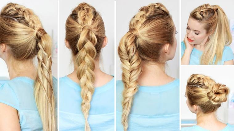 Tre trecce diverse, donna con capelli biondi, capelli lisci lunghi