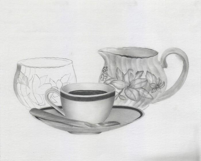 Immagini da disegnare a matita, disegno di tazza con caffè