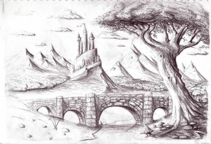 Disegni a matita semplici, il disegno di un ponte di pietra