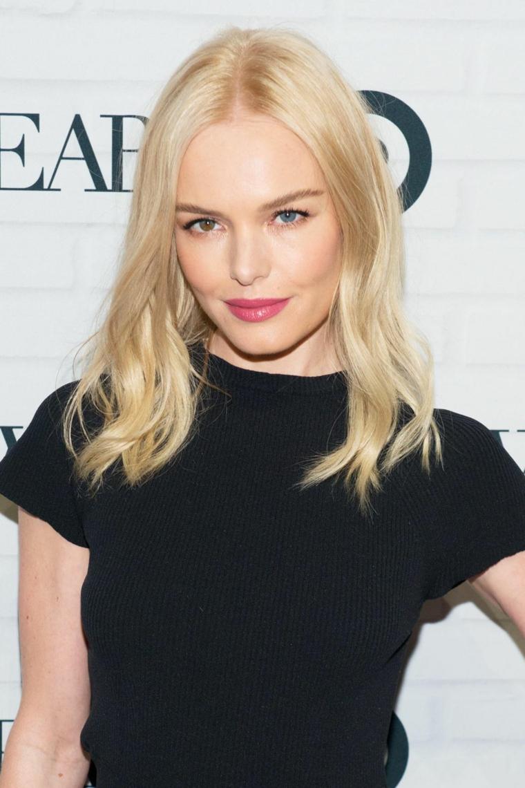 Capelli taglio long bob, capelli lisci biondi, Kate Bosworth con maglia nera
