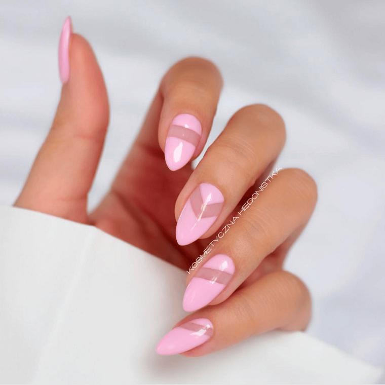 Disegni sulle unghie, smalto rosa chiaro, unghie forma stiletto