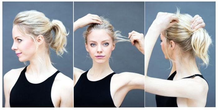 Tutorial come legare i capelli corti, ragazza bionda con top nero, tre immagini collage