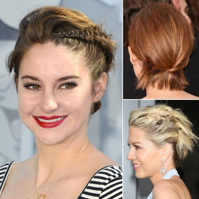 Come fare i capelli mossi corti, tre donne famose con i capelli corti, acconciature con trecce laterali