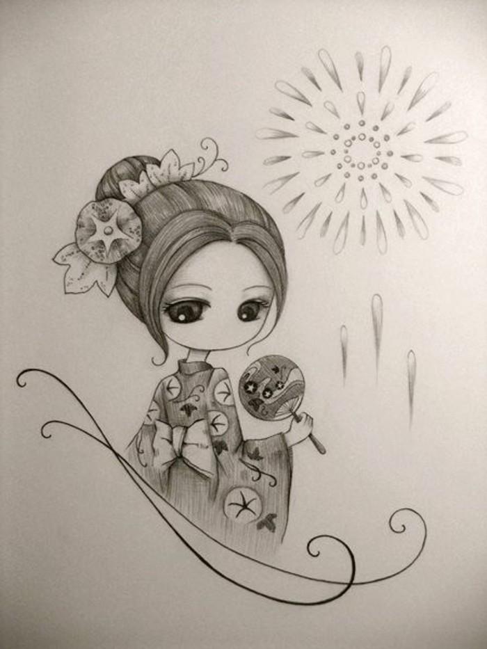 Idea per un disegno giapponese, bambina con capelli legati