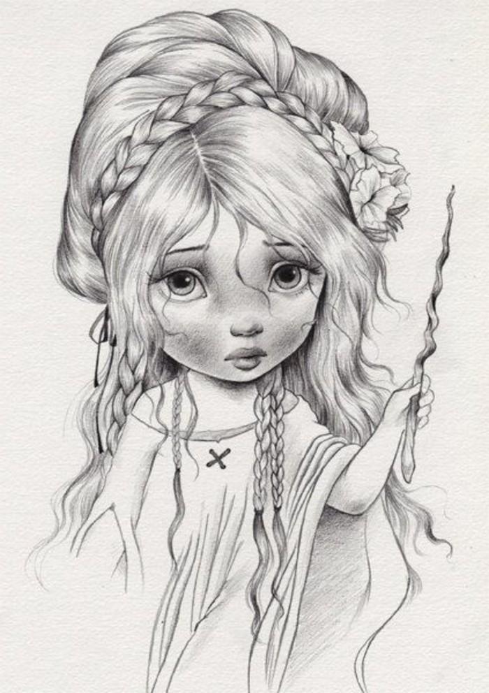Disegno di una bambina, capelli legati con treccia, bambina con occhi grandi