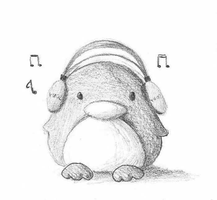 Disegni a matita facili, disegno di un pinguino, pinguino con cuffie