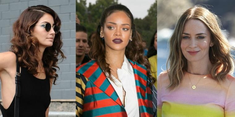 Rihanna con capelli ricci, capelli castani ricci, taglio capelli di media lunghezza