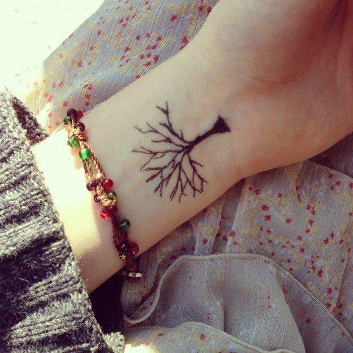 Tatuaggi belli e piccoli, tattoo di un albero con rami, tatuaggio sul polso della mano di un donna