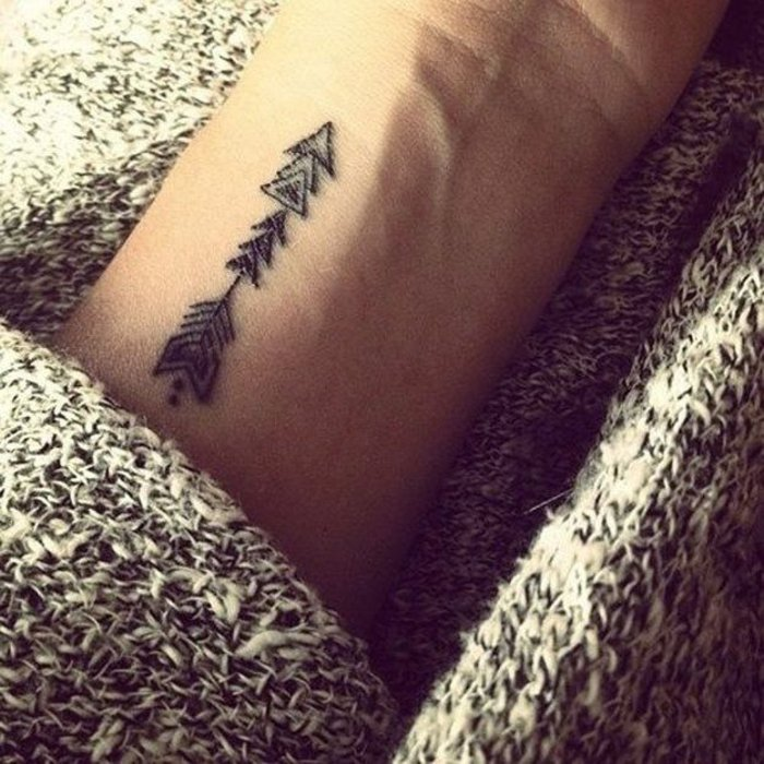 Simboli tatuaggi, tattoo sul polso della mano, disegno freccia con puntini