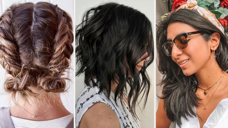 Tre ragazze con acconciature capelli, capelli dal taglio medio