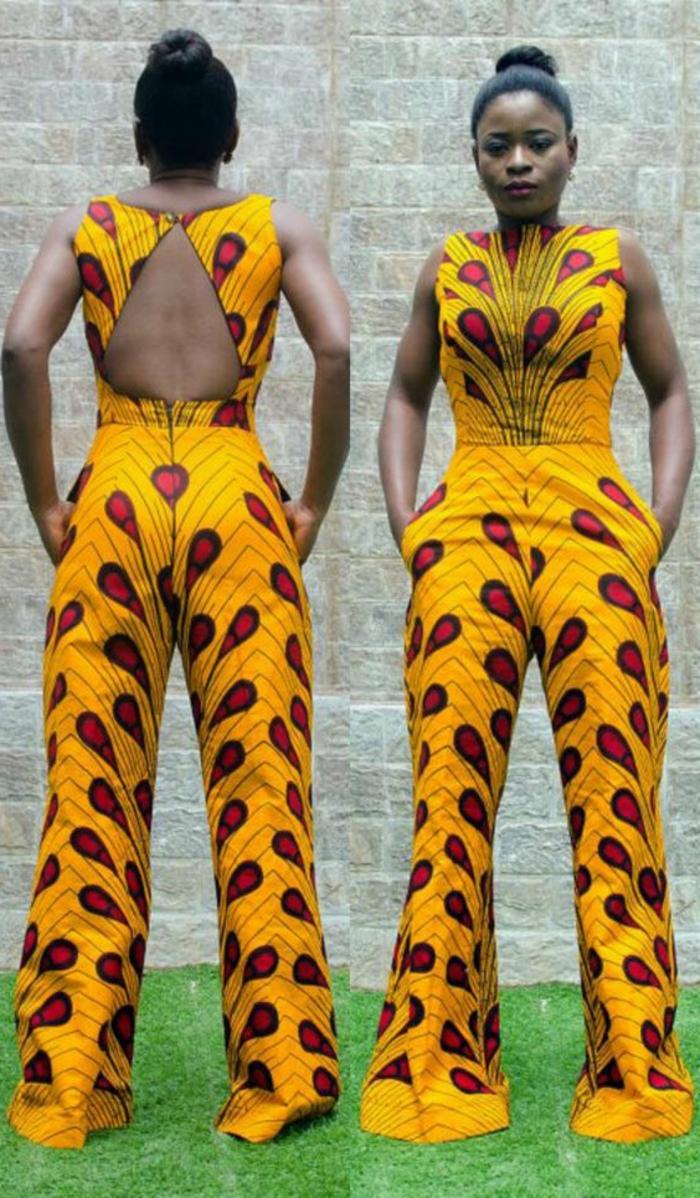 Tuta gialla con schiena scoperta, ragazza africana con acconciatura chignon, modella alta