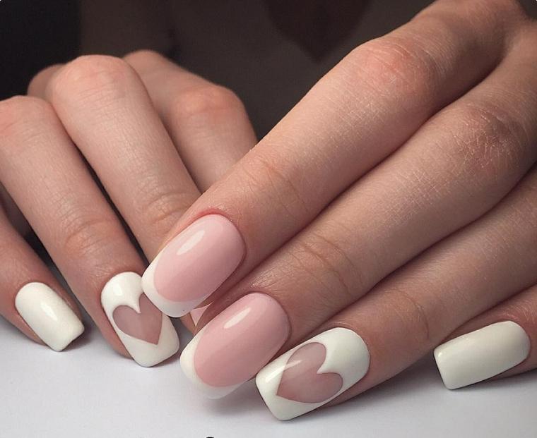 Unghie gel semplici, french manicure smalto bianco e rosa, mani donna