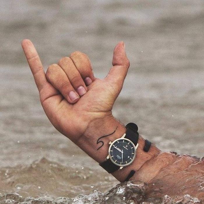 Tattoo sul polso, uomo tatuato, orologio da polso nero