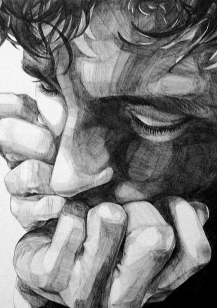Disegno del viso di un uomo, uomo con mani sulla bocca