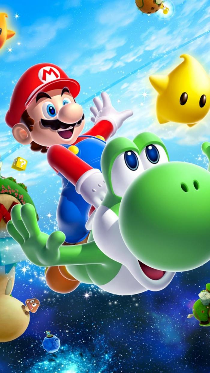 Immagine di Super Mario, foto per schermo cellulare, dinosauro di colore verde
