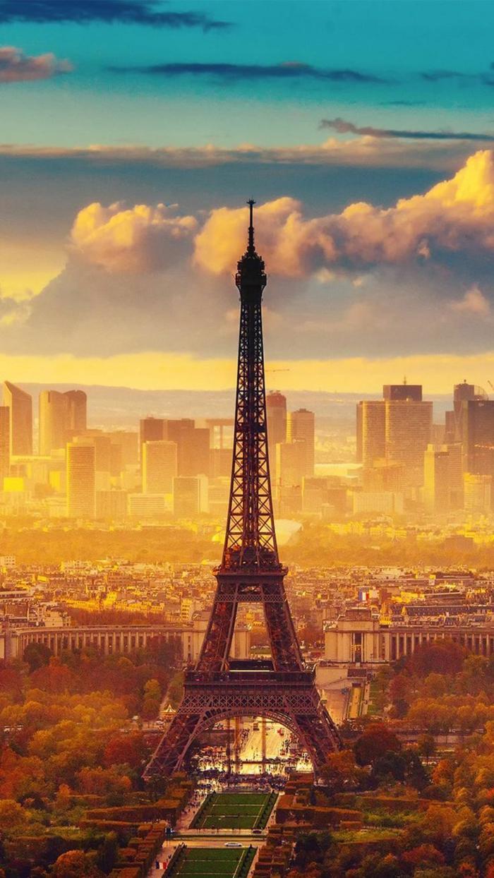 Foto della Torre Eiffel di Parigi, Parigi dall'alto, foto per sfondo del cellulare