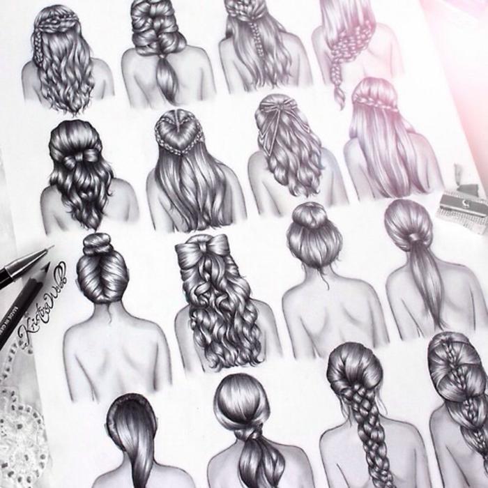 Come disegnare una ragazza, disegno di acconciature, disegni di capelli con trecce