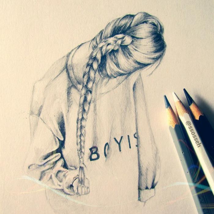 Foto di ragazze tumblr, disegno di ragazza, capelli con treccia