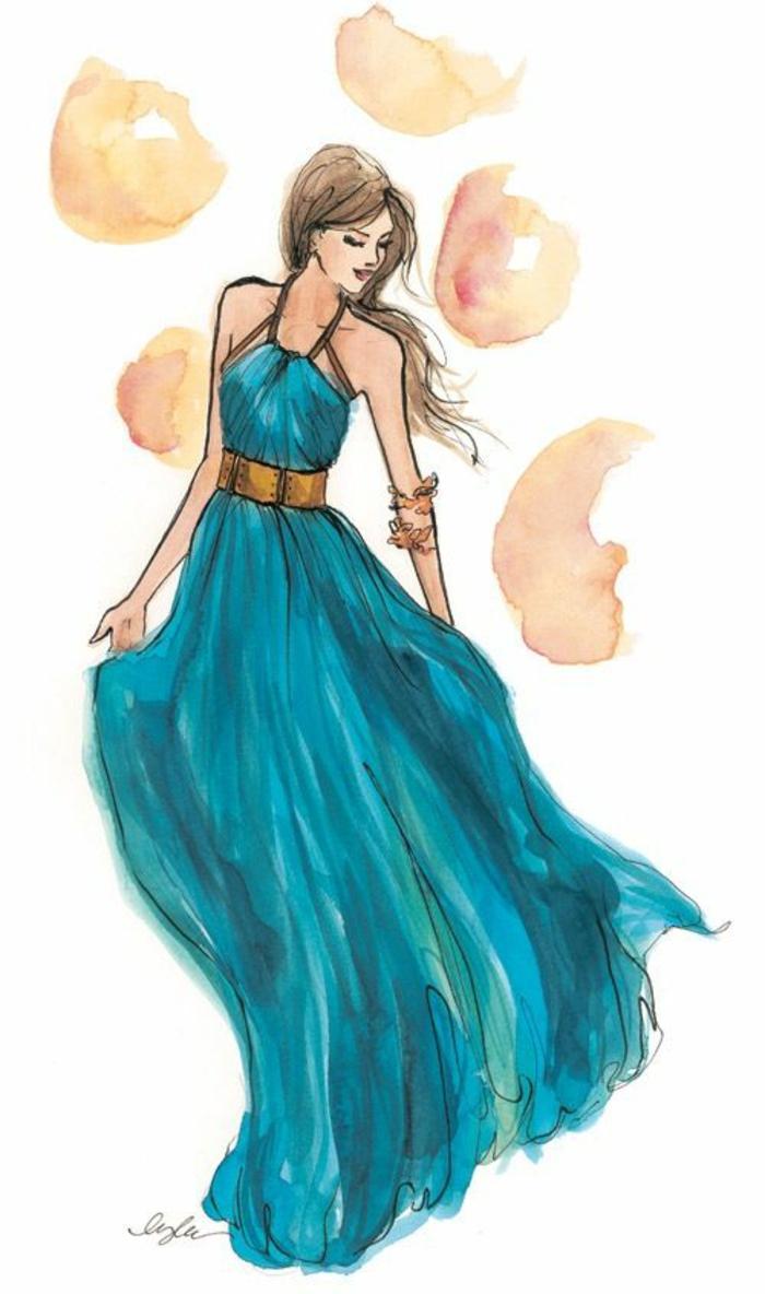 Disegni tumblr facili da copiare, disegno di una donna, vestito blu largo