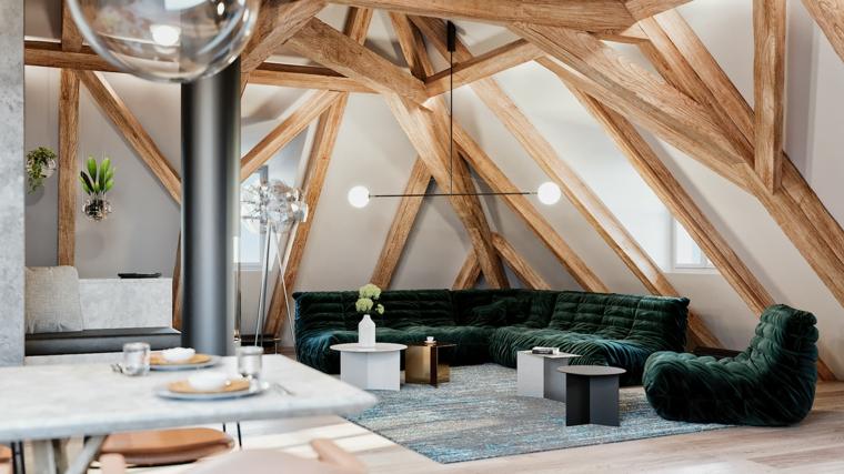 Cucina in mansarda, soggiorno con divano angolare, soffitto con travi di legno
