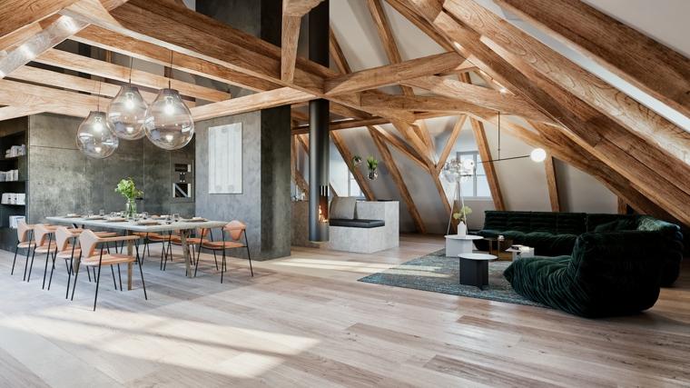 Come arredare una mansarda, open space con soggiorno, tavolo da pranzo con sedie