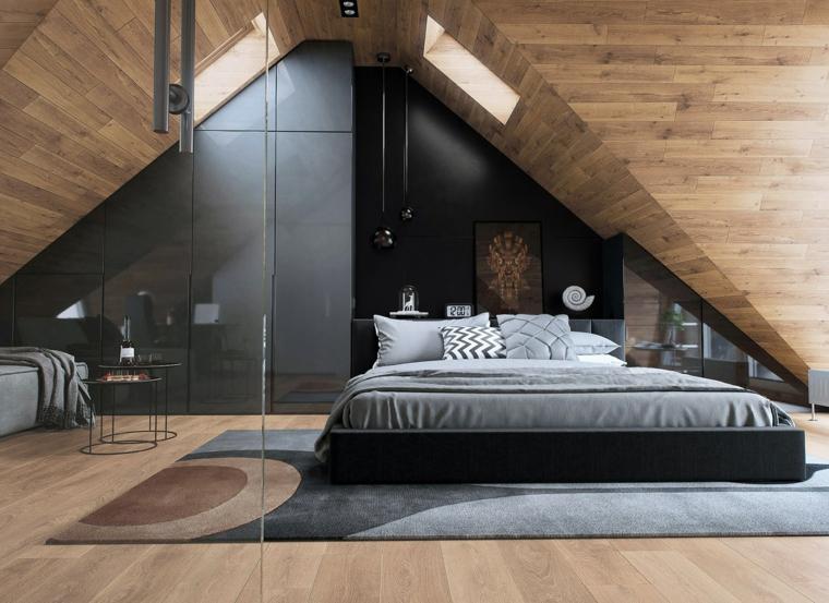 Idea per arredare mansarda, camera da letto con pareti di legno, zona notte con armadio su misura