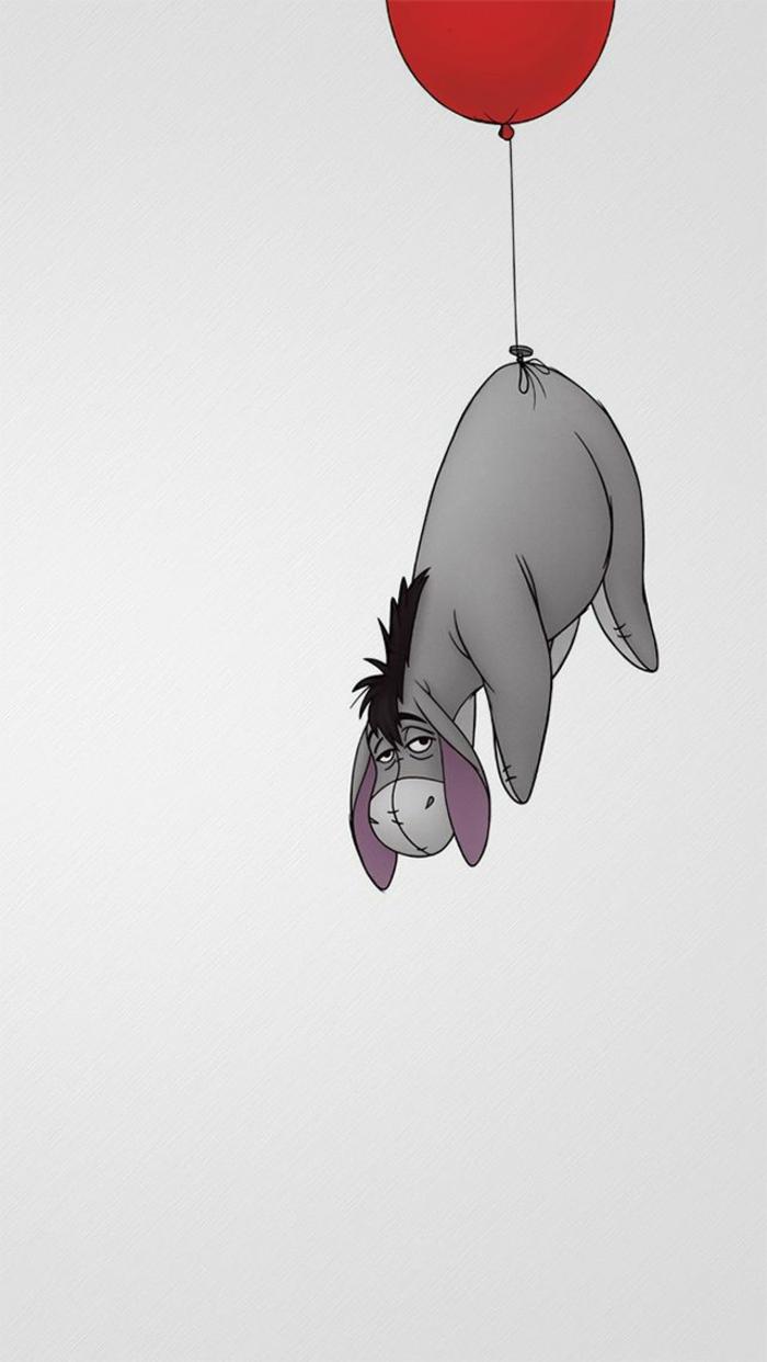 L'asinello di Winnie the Pooh, palloncino rosso, disegno per telefono schermo