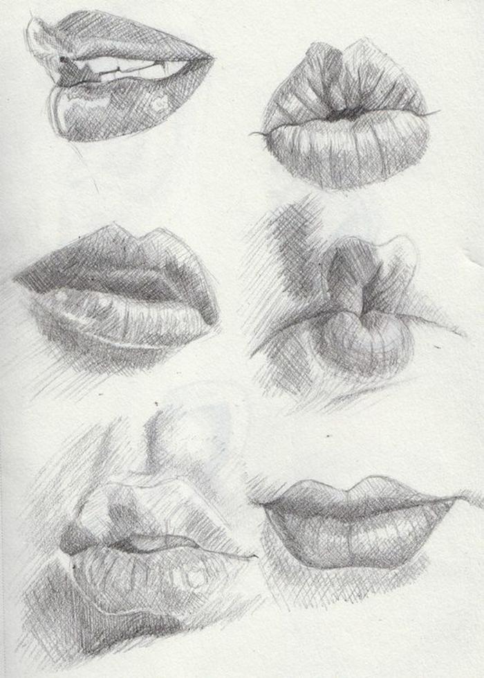 Foto di donne bellissime, disegni di labbra, abbozzi a matita