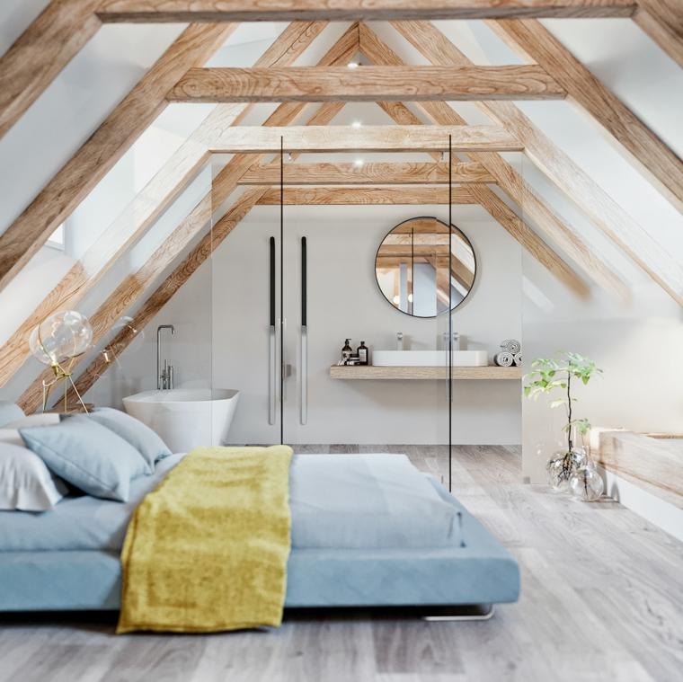 Mobili per mansarde, camera da letto con bagno, soffitto con travi di legno, pavimento di colore grigio