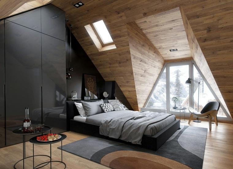 Arredare sottotetto, camera da letto con di colore nero, pareti di legno
