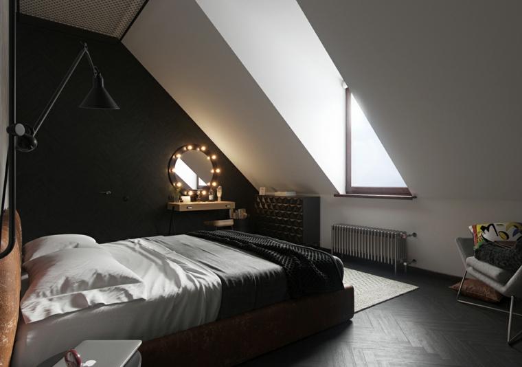 Arredamento per mansarde, mansarda con camera da letto, pareti di colore nero e bianco