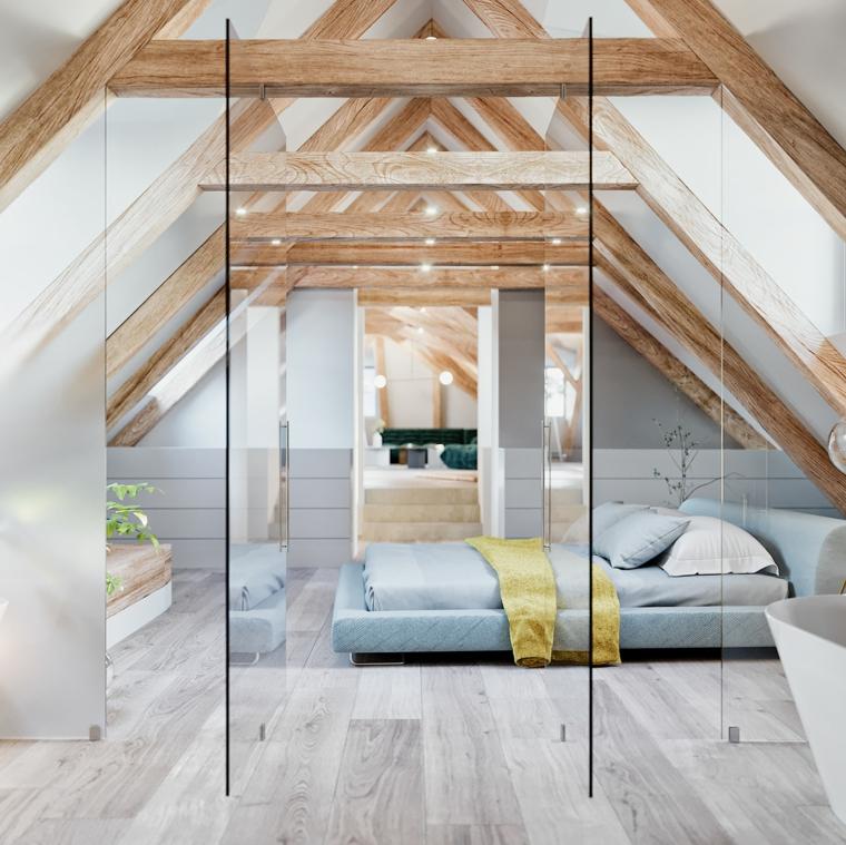 Arredamento per mansarde, camera da letto, soffitto con travi di legno, camera da letto con bagno
