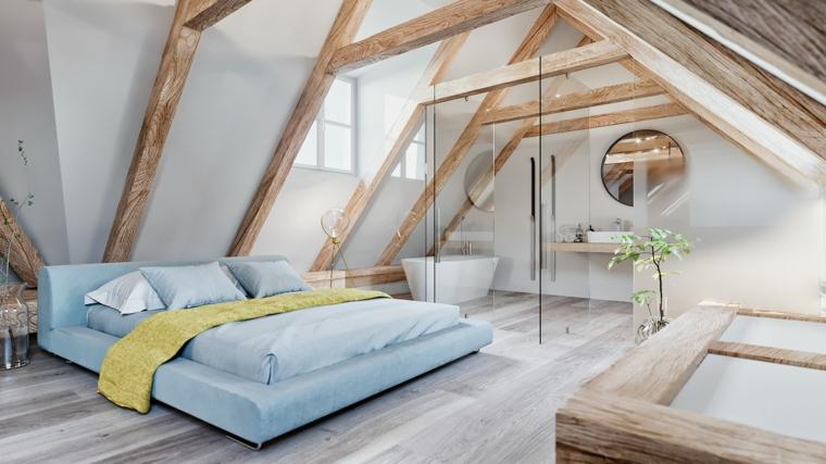 Come arredare una mansarda, camera da letto con bagno, soffitto con travi di legno