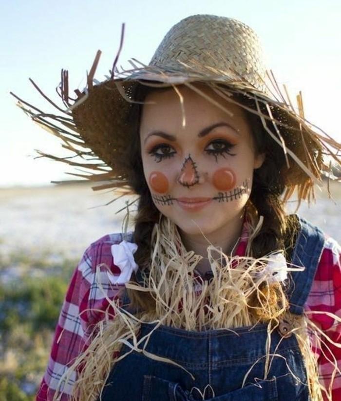 Ragazza travestita da spaventapasseri, cappello di paglia, costumi halloween adulti