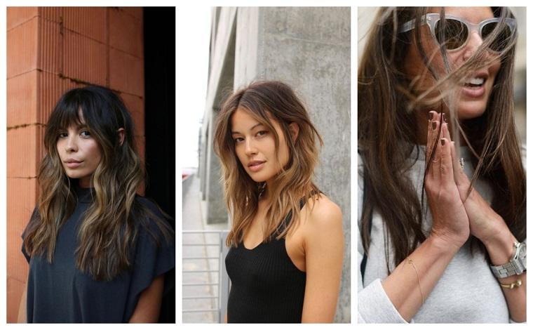 Tre ragazze con capelli mossi, colore castano per capelli