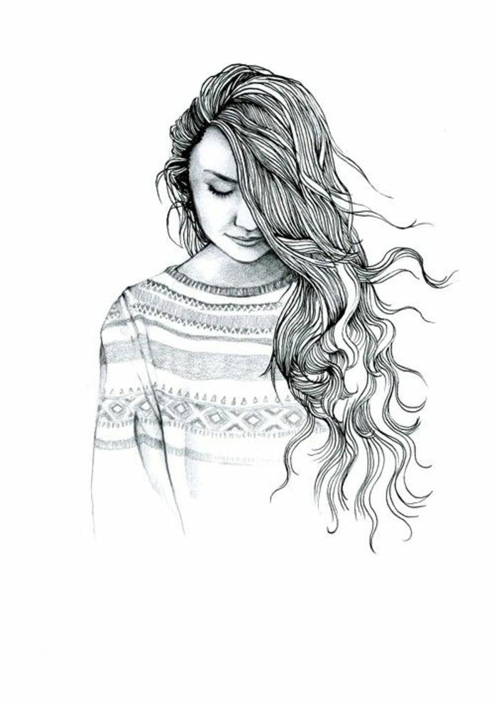 Disegni di ragazze a matita, disegno di una donna, capelli lunghi ricci