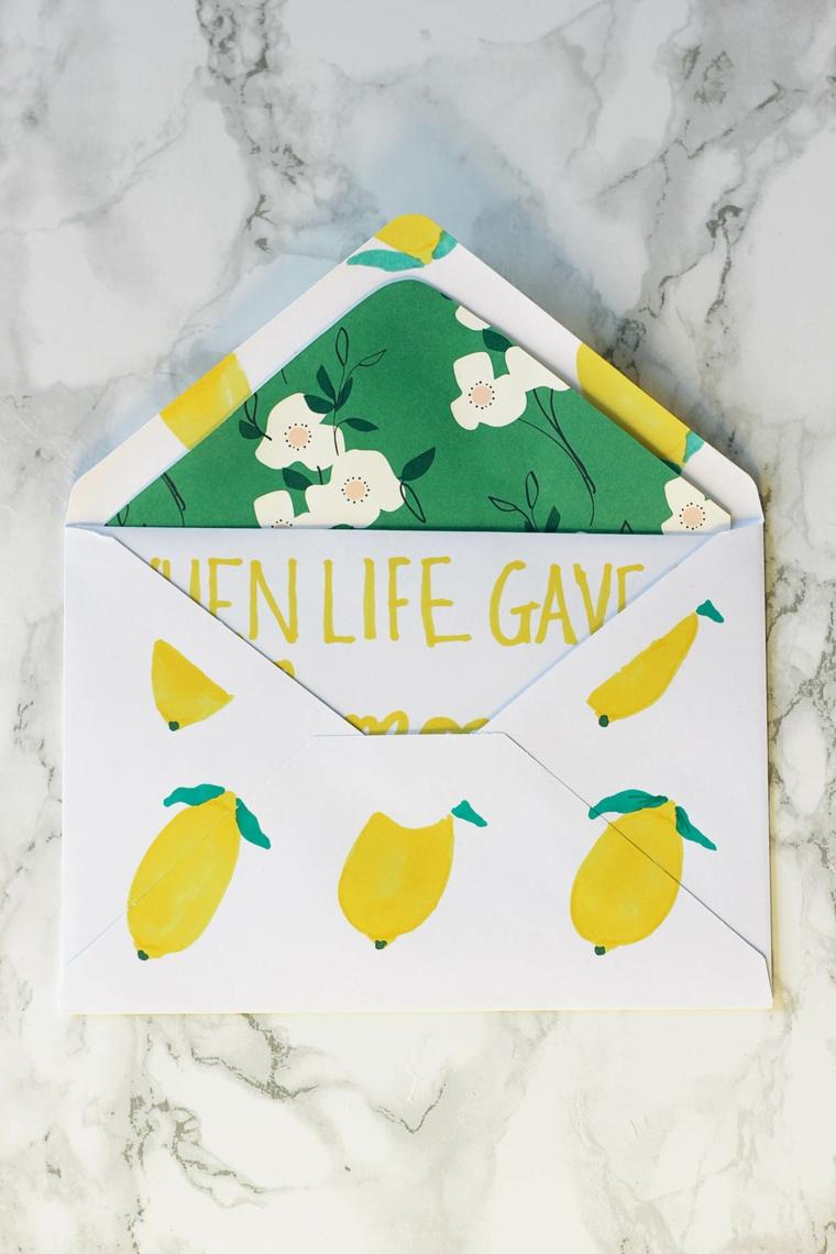 Busta con disegni, disegni di limoni, regali da fare alla mamma