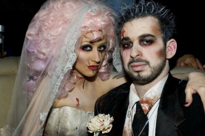 Idee vestiti halloween ragazza, travestimento da zombi sposa, costumi uomo e donna