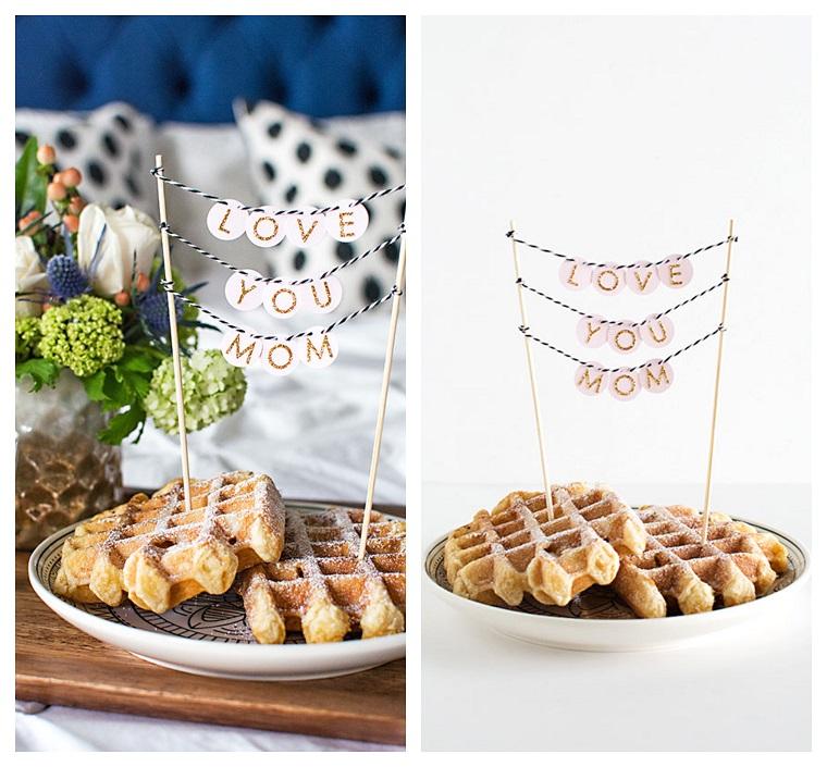 Piatto con la colazione, idee festa della mamma, striscione con scritta