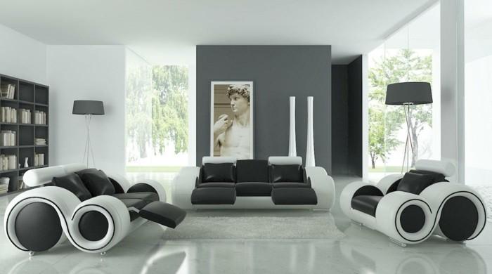 Idee arredamento soggiorno, divani di pelle, pavimento bianco lucido