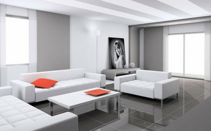 Pavimento con piastrelle lucide, come arredare il soggiorno, divano di pelle bianca