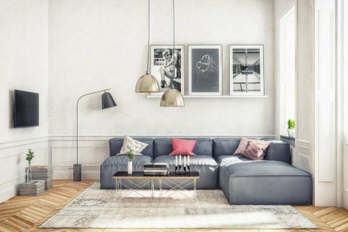Colori per pareti soggiorno, divano angolare con cuscini, tavolino basso di legno