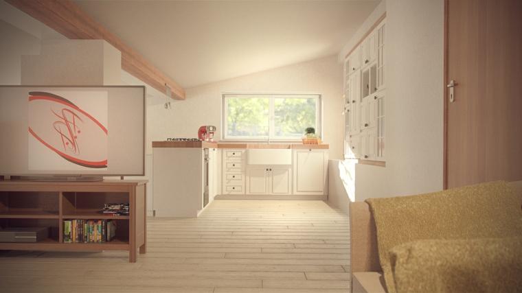 Cucina in mansarda, cucina angolare colore bianco, pavimento in legno, mansarda con trave