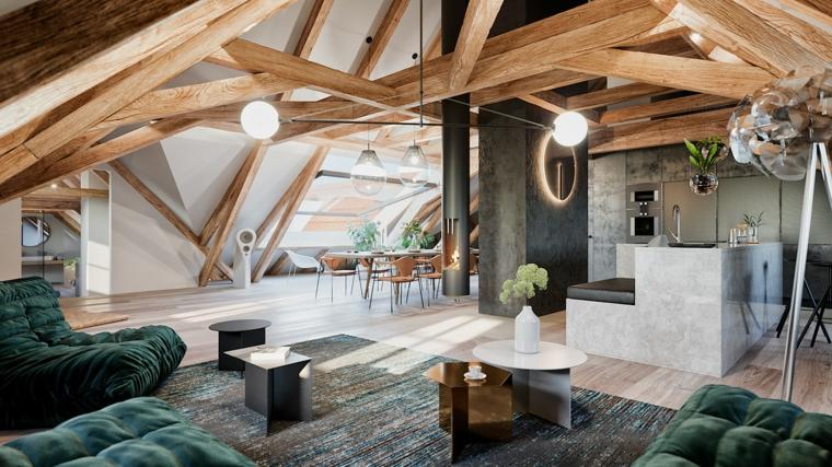 Arredare mansarda con soffitto in pendenza, open space con cucina, soggiorno con tappeto