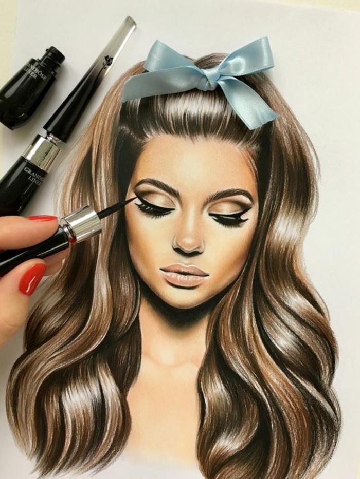 Disegni tumblr facili da copiare, donna con capelli ricci, disegno con eyeliner