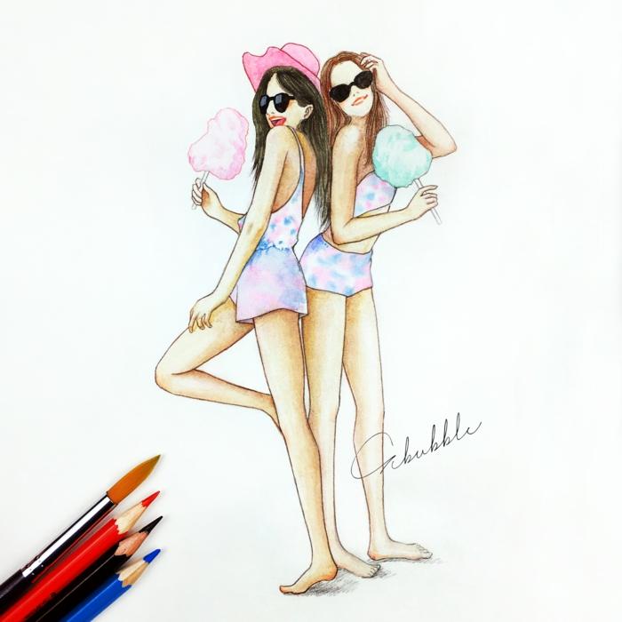 Disegni tumblr facili facili da copiare, disegno colorato di due ragazze